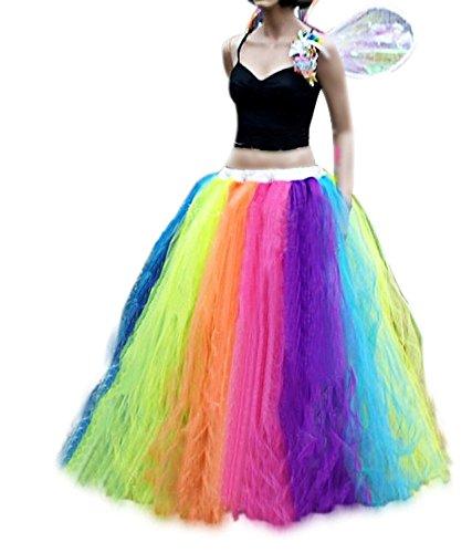 Izanoy Damen Regenbogen Tutu Petticoat Rock Lang Krinoline Unterrock Slip (X-Large, Regenbogen)