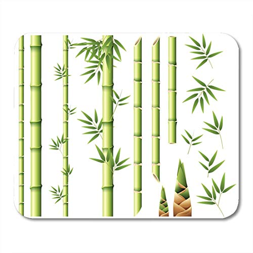 Deglogse Gaming-Mauspad-Matte, Clip Green Shoots Bamboo Stems and Leaves White Stick Clipart Mouse Pad,Desktop Computers Mouse Mats, -
