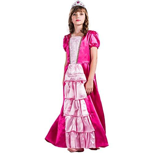 Kostüm Barbie Deluxe - EraSpooky Mädchen Deluxe Prinzessin Kostüm Fancy Lange Kleid(Rot-Gelb, Medium)