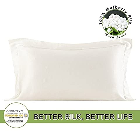 LILYSILK Oxford Silk Standard Pillowcase 19 Momme Charmeuse Pure Mulberry Silk Pillow Case Cover Fabric Double-side Ivory 20x30 inch (50x75