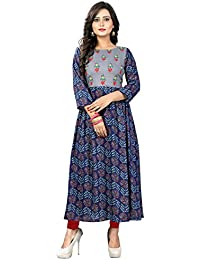 Vaikunth Fabrics Women's Rayon Blue And Grey New Style Low Price Party Wear Kurtis/Kurtas For Women