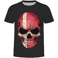 Beladla Camiseta Hombre Originales CráNeo del CráNeo Que Floral CráNeo ImpresióN tee Cuello Redondo Tops Camisa Ropa Hombre Deportiva
