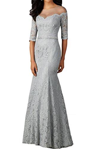 La_mia Braut Damen Silber Spitze Langarm Abendkleider Promkleider Brautmutterkleider Lang Neu Silber