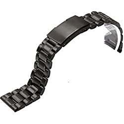 Black Stainless Steel Watch Bracelet Band Strap Straight End Solid Links 24mm