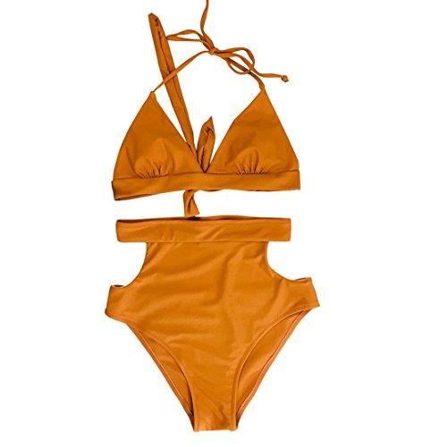 Bikini Set Elegant Damen High Waist Badeanzug Mädchen Bikini gepolsterte Halter Baden Sexy zwei Stücke Set Bademode (M, Kaffee) (Zwei Halter Stück Bikini)