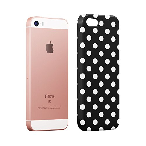 Baby Blue Polka Dots Pattern Custodia Posteriore Sottile In Plastica Rigida Cover Per iPhone 5 & iPhone 5s & iPhone SE Slim Fit Hard Case Cover Black Dots