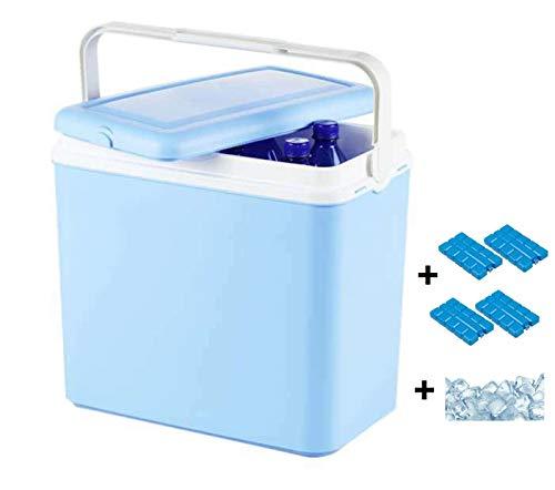 Interior WA51V Kühlbox, Mini Kühlschrank 24 L fürs Auto, Autokühlschrank Campingbox, Minikühlschrank für Unterwegs, inkl. 4 Kühlakkus + 1,5 kg Kühlsalz