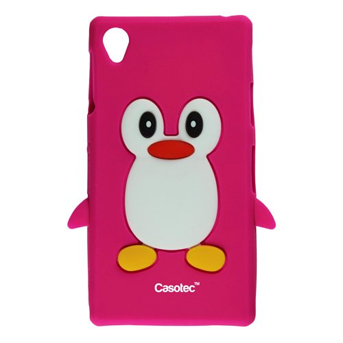 Casotec Penguin Silicone Jelly Back Case Cover for Sony Xperia Z1 - Hot Pink  available at amazon for Rs.125