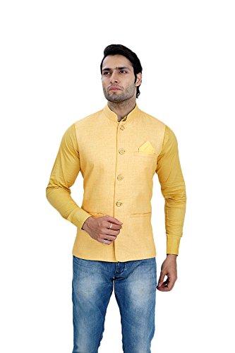 Wallson Ethnic waistcoat blazers for men slim fit party wear (DSC01647-44_Yellow)