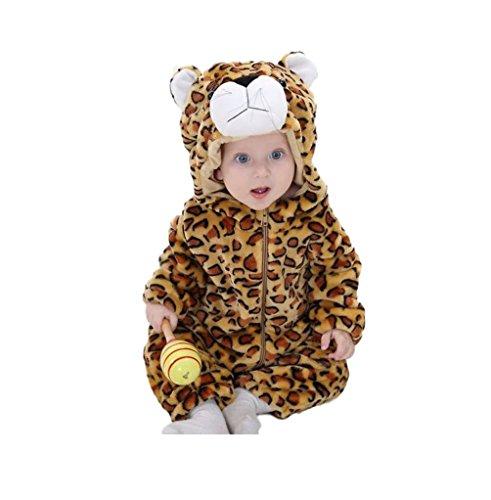Ducomi® Little Animals - Unisexrock für Baby und kleines Mädchen mit Kapuze - Tier Cosplay Kostüm für Geburtstagsfeiern, Karneval und Halloween (Größe 80 cm - Höhe: 66-75 cm, (Katze Ideen Kostüm Leopard)