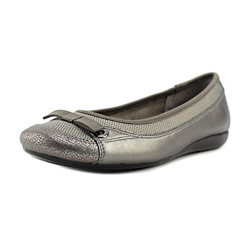 Aerosoles Printz Maker Femmes Cuir Chaussure Plate Dark Silver Metal