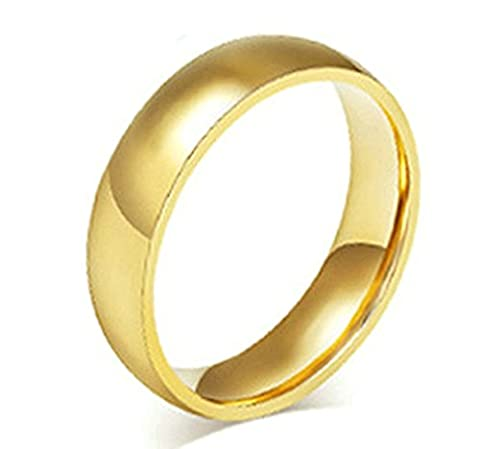 Beydodo Stainless Steel Rings (Wedding Bands) For Mens, High Polished Finished 6MM Gold Size X 1/2
