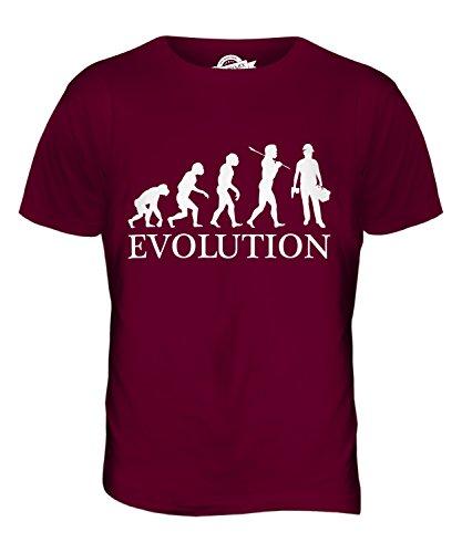 CandyMix Bauberuf Bauarbeiter Evolution Des Menschen Herren T Shirt Burgunderrot