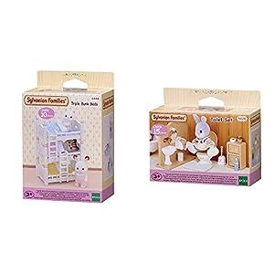 SYLVANIAN FAMILIES Triple literas (Epoch para Imaginar 4448) + Toilet Set Mini muñecas y Accesorios, (Epoch para Imaginar 3563)