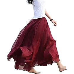 Feoya Mujer Maxi Larga Falda Bohemia Dobladillo Grande Chifón Skirt - Rojo