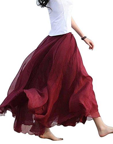 FEOYA Damen Rock Sommer Polyester Chiffon Maxirock Frauen Böhmische Einfarbig Unterrock Elastische Taille Langrock Cocktail Damenrock Falten Röcke Skirt One Size (Farbe Wählbar) Rot