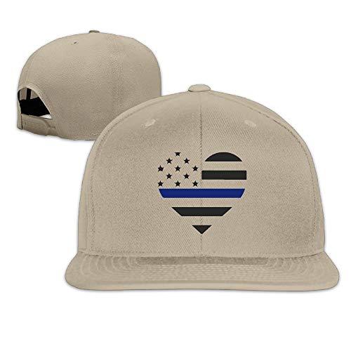 Thin Blue Line Flag Heart-1 Baseball Hats Men & Women Flat Billed Adjustable Classic Street Rapper Hat -