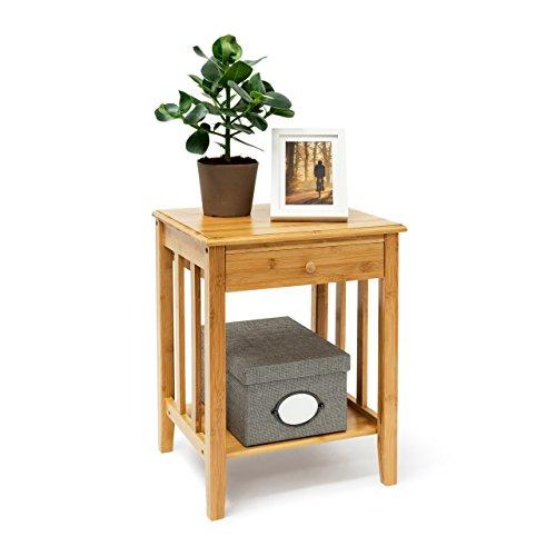 Relaxdays Table d'appoint en Bambou avec tiroir : 51,5 x 40,5 x 30,5 cm, Table de Chevet Solide avec étagère inférieure en Bois Naturel