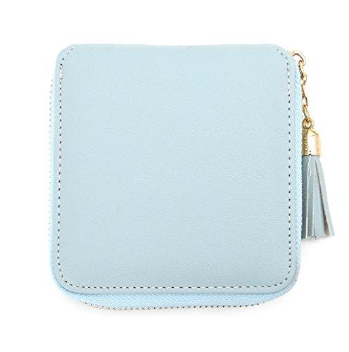 Dairyshop Sacchetto della moneta del supporto della carta di cuoio della signora delle donne di modo borsa della del raccoglitore (Viola) Blu
