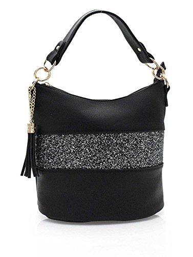 Gallantry–Handtasche/Umhängetasche/Rucksack mit Pailletten für Damen Schwarz