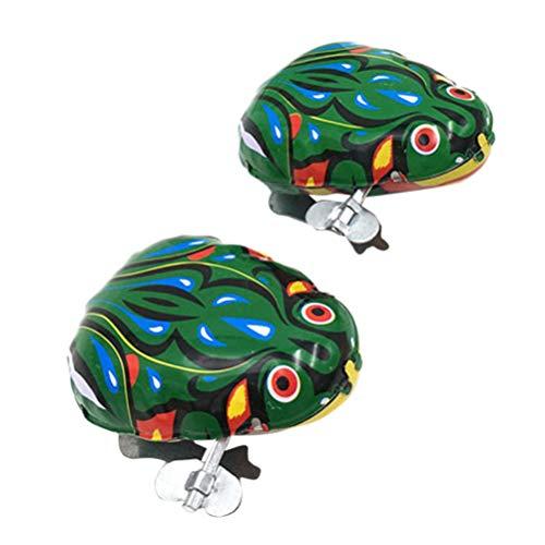 Toyvian Aufziehspielzeug Eisen Uhrwerk Spielzeug Frosch Form Wind Up Spielzeug für Kinder Party Gastgeschenk 2 Stück (Grün)