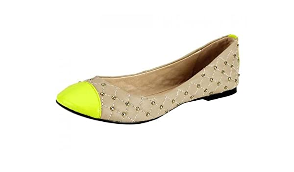 Heine Damen Schuhe Ballerina, beige neongelb Größe 37