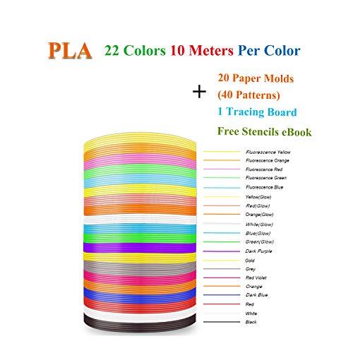 3D Stift Filament Minen PLA mit Schablonen Ebooks & Papier Schimmel für 3D Printing Drucker Stifte, Coideal 22 sortiert Farbe 722 lineare ft 1,75 mm Filament Pack mit 40 Muster von 20 Papier Formen -