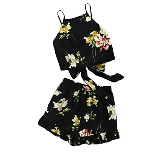 """TUDUZ Shorts und Top Sets Damen Sommer Strand Zweiteiler Schulterfrei Sunflower Printed Beachwear Chiffon Boho Ã""""rmellos Crop Tops (Schwarz -B, S)"""