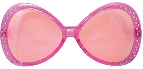 Folat Party-Brille mit pinkem Rahmen und Glitzersteinen besetzt (Sonnenbrille Jahre 70er)