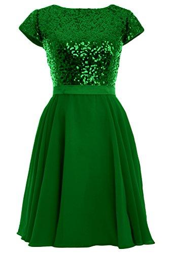 MACloth - Robe - Trapèze - Manches Courtes - Femme Vert - Vert