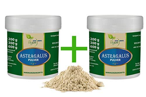 """VITAIDEAL"""" SPAR - POT"""" 2x300g Astragalus -Wurzel Pulver (Tragantwurzel Astragal Huang Qi) + Messlöffel. Rein natürliches Pulver, ohne Zusatzstoffe."""