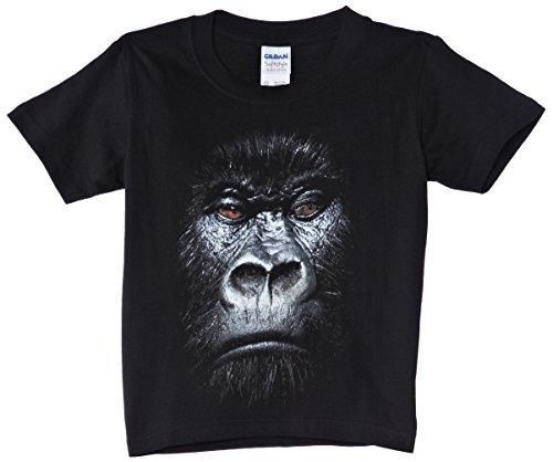 Printed Wardrobe - Camiseta con estampado de animales para niño, Negro, 110