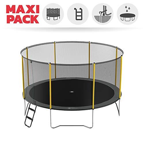 Maxi Pack Initio Trampolin + Netz + Leiter + Verankerungsset + Hülle – Durchmesser von 250 bis 430 cm, grau