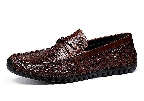 SHIXR Männer Slip-On Oxford Casual Sommer Breathable Erbsen Schuhe Herren Schuhe Korean Casual Schuhe Straußen Muster Schicht aus Leder Schuhe Brown