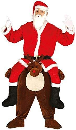 Fancy Me Uomo Rudolph Ride On Passo Renna Babbo Natale Natale da Festa Divertente Costume Vestito