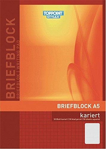 Toppoint Briefblock DIN A5 50 Blatt Kariert, 10 Stück