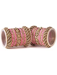 Traditional Pink Silk Thread Bangle Set By Leshya For Two Hands