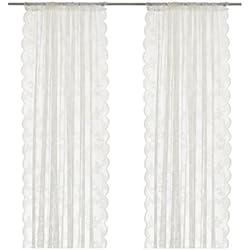 Ikea Rideaux Filet 1 Paire, Polyester, Blanc Cassé, 300 x 145 x 0,2 cm
