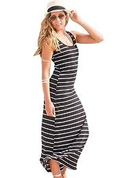 1d431611bad8 ZKOOO Donna Estate Vestito A Righe Senza Maniche Dress Sciolto Girocollo  Semplice Lungo Abito da Spiaggia