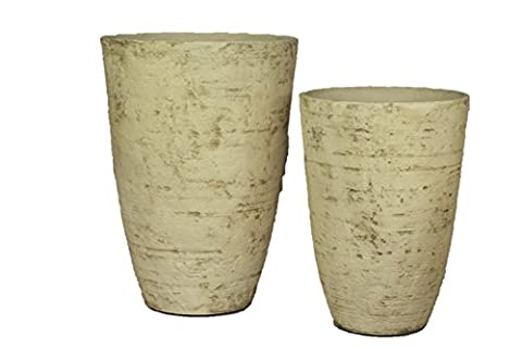 Stone Light Antique AS Series Cast Stone Planter, 2-Piece Set, Country White