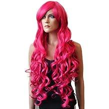 PRETTYSHOP Peluca de pelo largo rizado de fibra sintética resistente al calor rosa CP14
