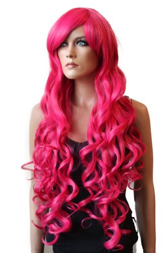 PRETTYSHOP Perücke Wig gewellt extra langhaar 90cm Hitzebeständiger Kunstfaser Wie Echthaar (Cosplay Show Theater Party & Co) (pink)