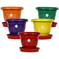 Kriti Kalash Terracotta Flowering Pot (Multicolour) -Pack of 5 ( Plastic )
