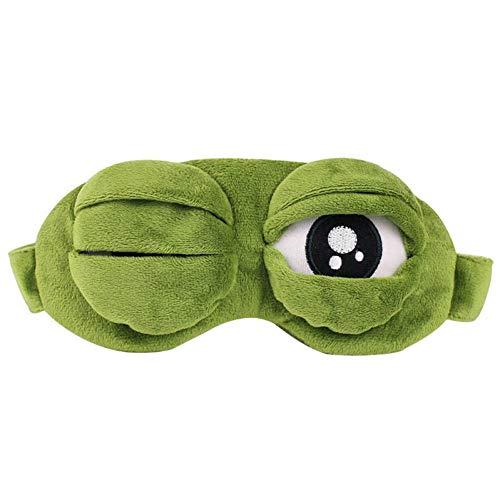 3D Grün Traurig Frosch Schlafmaske Blackout Brille Reise Entspannen Schlafhilfe Augenbinde Augenschutz Partei Maske Cosplay Kostüm Kinder Geschenk