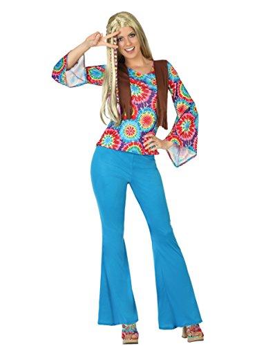 Hippie Damenkostüm 60er Jahre Plus Size hellblau-bunt (Plus Size Kostüme Jahre 60er)