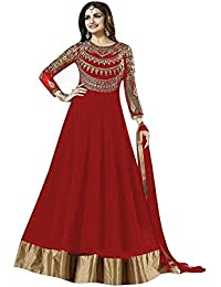 Mordenfab Red Heavy Diamond Work Neck Bollywood Suits For Women Indo-Western For Party Wedding Wear Floor Length...