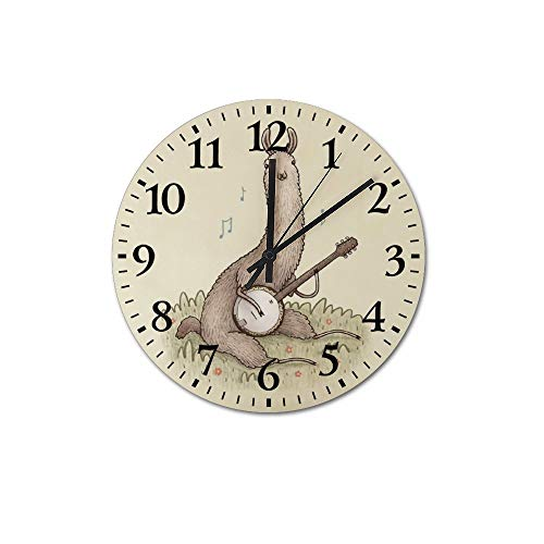 VINMEA Banjo Llama Decorative Round Wooden Wall Clock 12 Inch