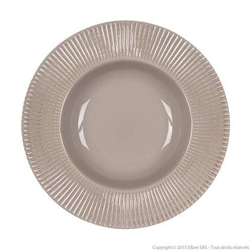 Delamaison Assiette Creuse faïence Taupe strié 24 cm (Lot de 6) Thelma