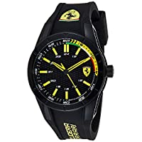 Ferrari Men's 'Redrev' Quartz Black Casual Watch (0830302), Analog Display
