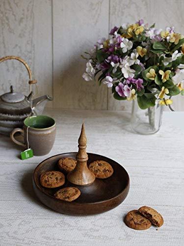 Handgefertigte Platte aus Holz Serviertablett Kitchen Platter Hand Geschnitzte rund geformte Serveware Küche Platte Haus und Küche Dekor für Geschenk-Zweck Holz Serveware